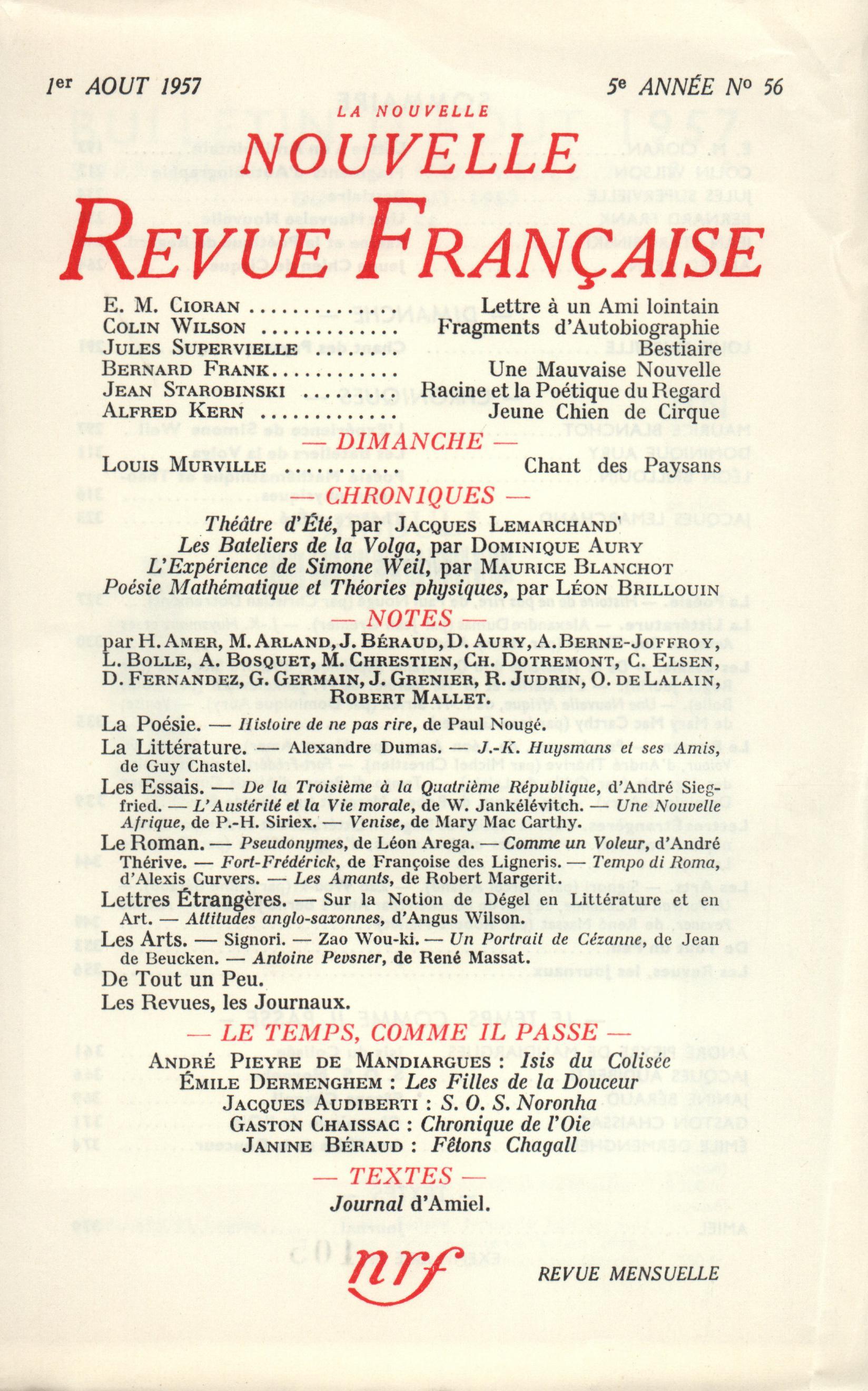 La Nouvelle Nouvelle Revue Française N' 56 (Aout 1957)