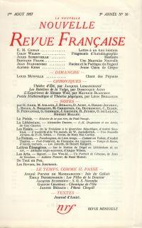 La Nouvelle Nouvelle Revue Française N' 56 (Aoűt 1957)