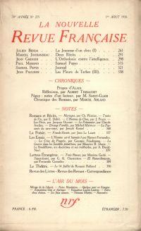 La Nouvelle Revue Française N° 275 (Aoűt 1936)