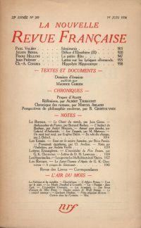 La Nouvelle Revue Française N° 249 (Juin 1934)