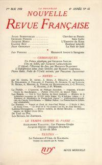 La Nouvelle Nouvelle Revue Française N' 65 (Mai 1958)