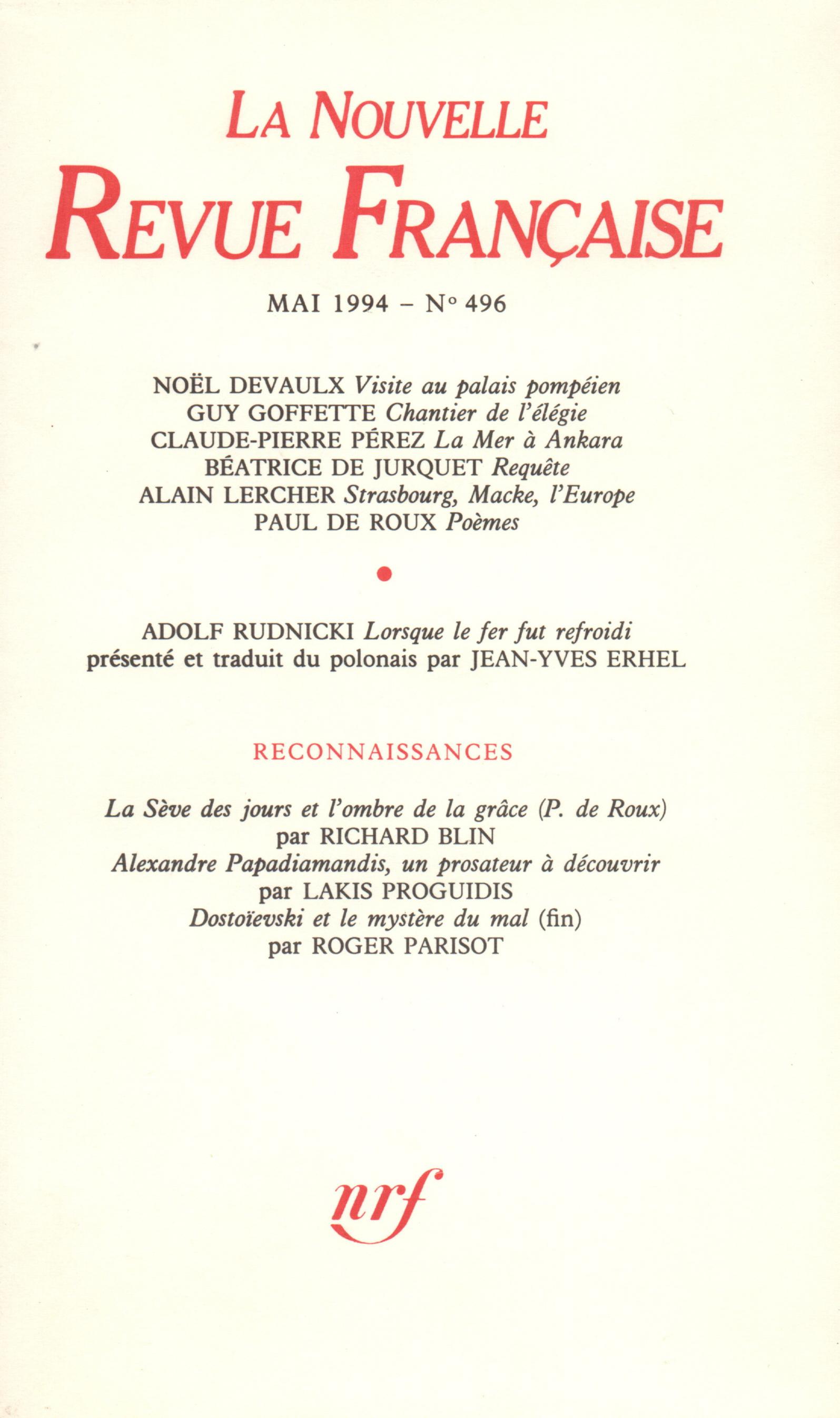 La Nouvelle Revue Française N° 496