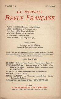 La Nouvelle Revue Française N' 175 (Avril 1928)