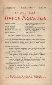 La Nouvelle Revue Française N' 116 (Mai 1923)
