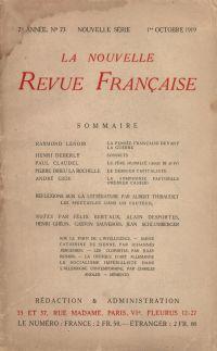 La Nouvelle Revue Française N' 73 (Octobre 1919)