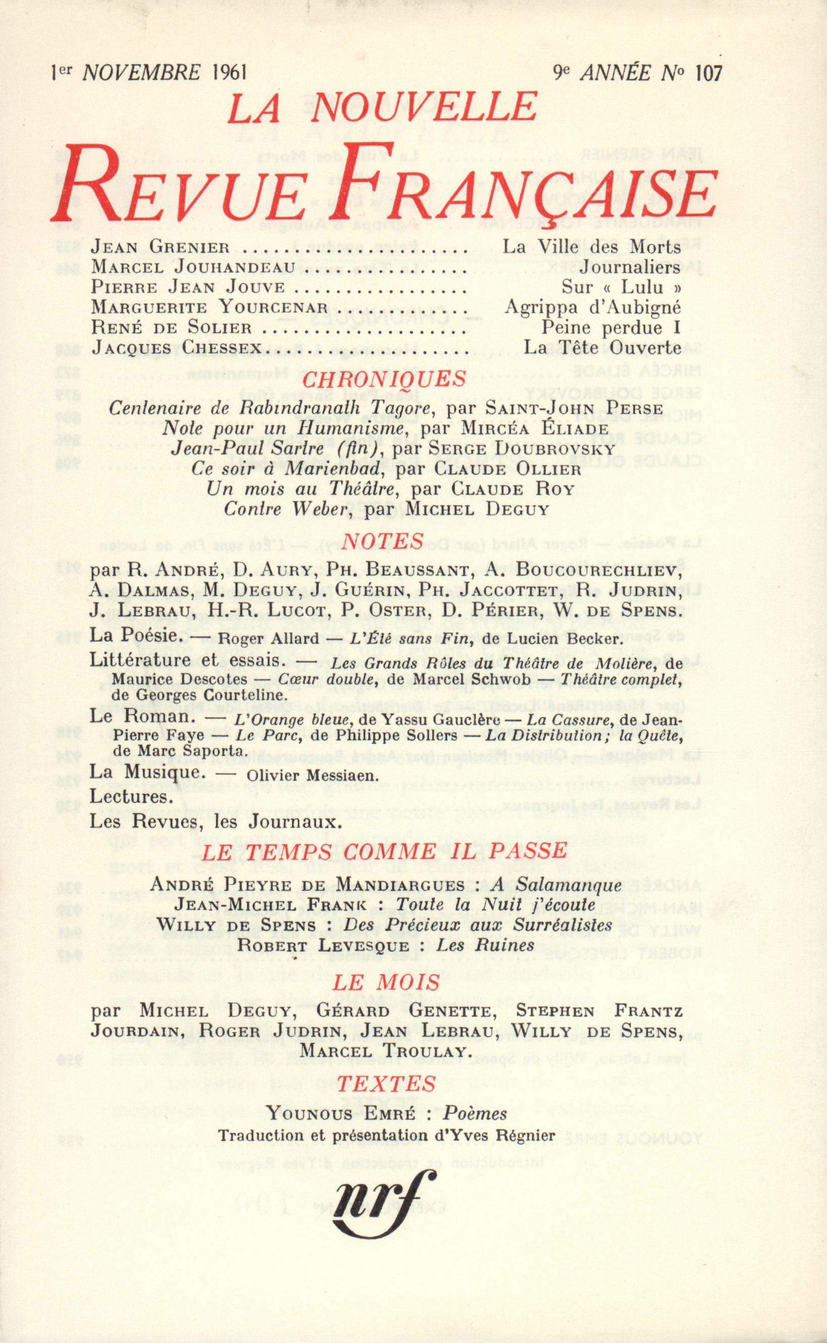La Nouvelle Revue Française N' 107 (Novembre 1961)