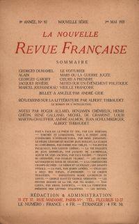 La Nouvelle Revue Française N' 92 (Mai 1921)