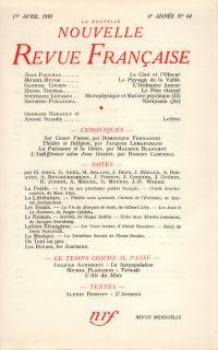 La Nouvelle Nouvelle Revue Française N' 64 (Avril 1958)