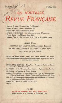 La Nouvelle Revue Française N' 174 (Mars 1928)