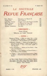 La Nouvelle Revue Française N' 198 (Mars 1930)