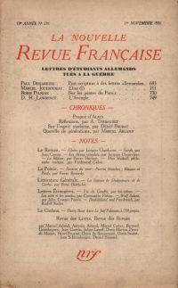 La Nouvelle Revue Française N' 218 (Novembre 1931)