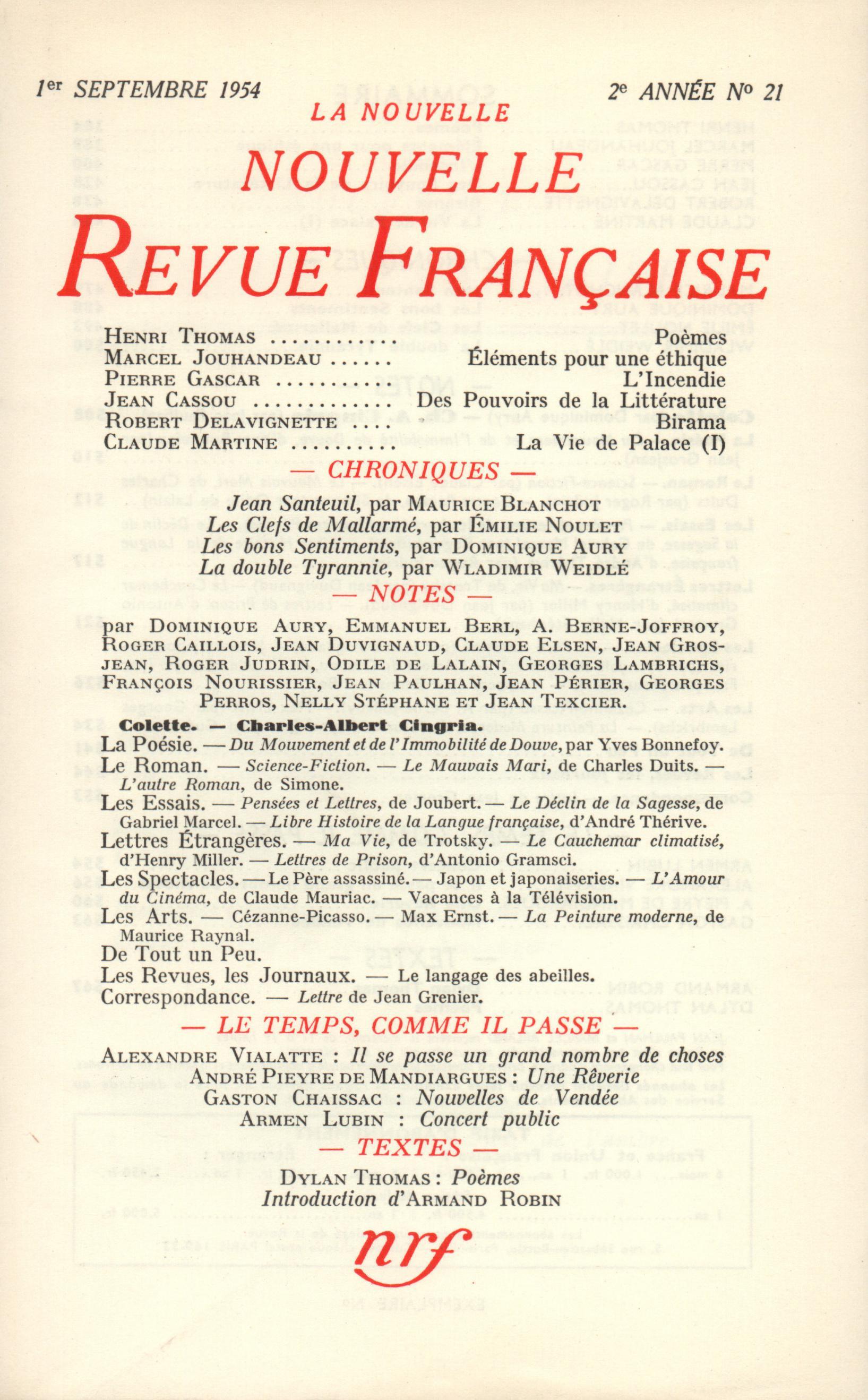 La Nouvelle Nouvelle Revue Française N' 21 (Septembre 1954)