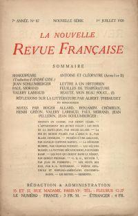 La Nouvelle Revue Française N' 82 (Juillet 1920)