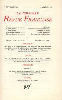 La Nouvelle Revue Française N' 177 (Septembre 1967)