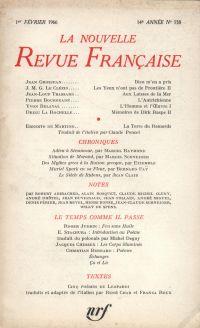 La Nouvelle Revue Française N' 158 (Février 1966)