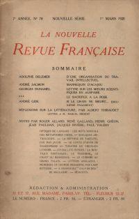 La Nouvelle Revue Française N' 78 (Mars 1920)