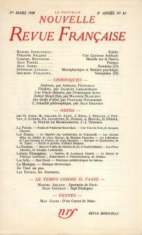 La Nouvelle Nouvelle Revue Française N' 63 (Mars 1958)