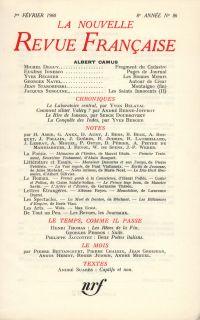 La Nouvelle Revue Française N' 86 (Février 1960)