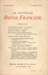 La Nouvelle Revue Française N' 43 (Juillet 1912)