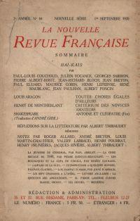 La Nouvelle Revue Française N' 84 (Septembre 1920)