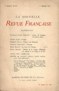 La Nouvelle Revue Française N' 27 (Mars 1911)