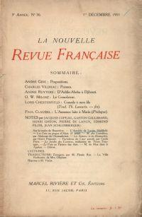 La Nouvelle Revue Française N' 36 (Décembre 1911)