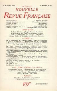 La Nouvelle Nouvelle Revue Française N' 55 (Juillet 1957)