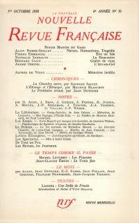 La Nouvelle Nouvelle Revue Française N' 70 (Octobre 1958)