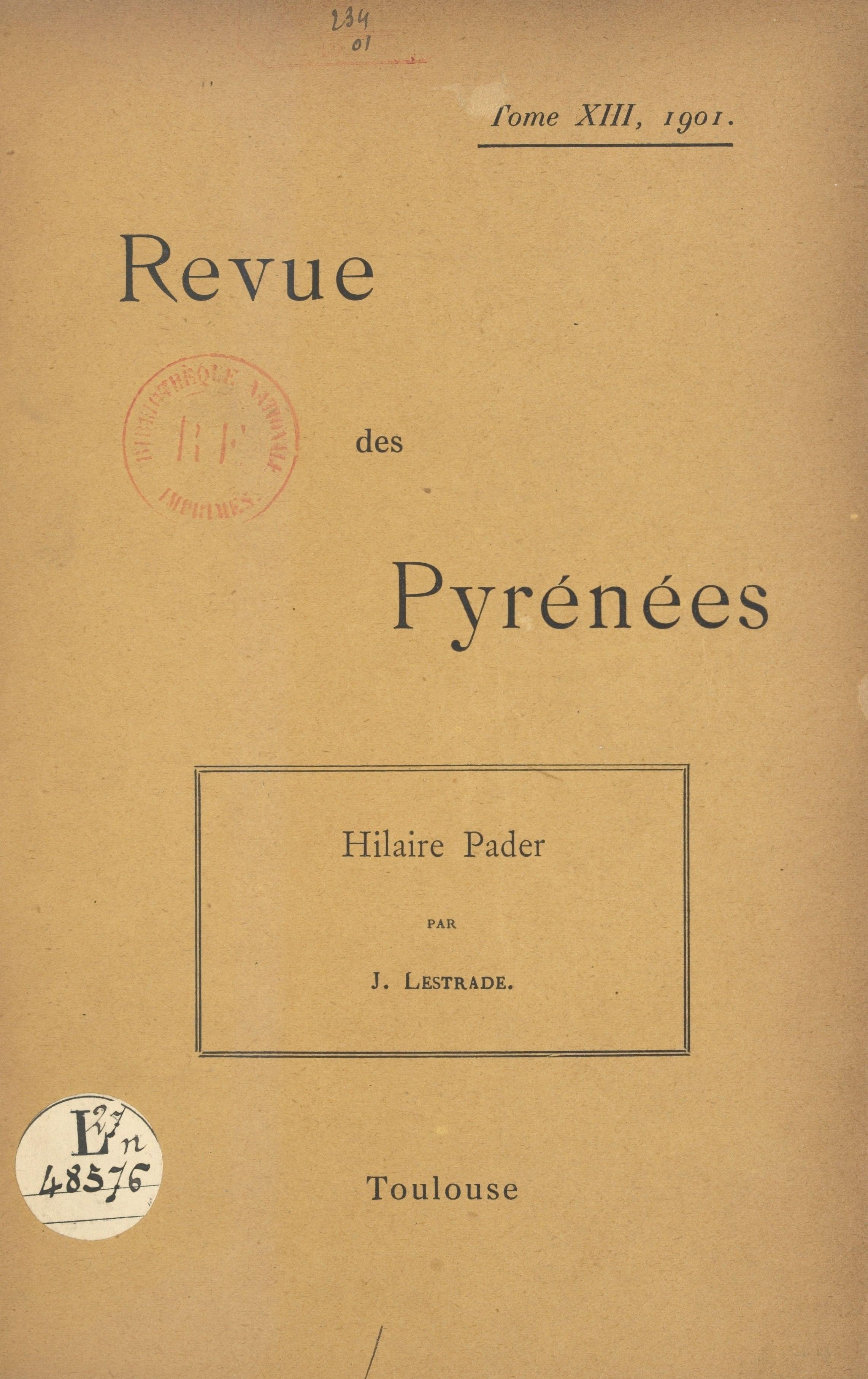 Hilaire Pader, peintre toulousain au XVIIe siècle, D'APRÈS DES DOCUMENTS INÉDITS