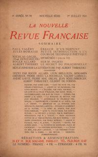 La Nouvelle Revue Française N' 94 (Juillet 1921)