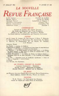 La Nouvelle Revue Française N' 103 (Juillet 1961)