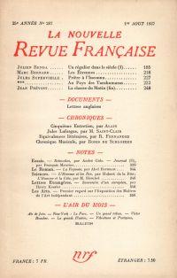 La Nouvelle Revue Française N° 287 (Aoűt 1937)