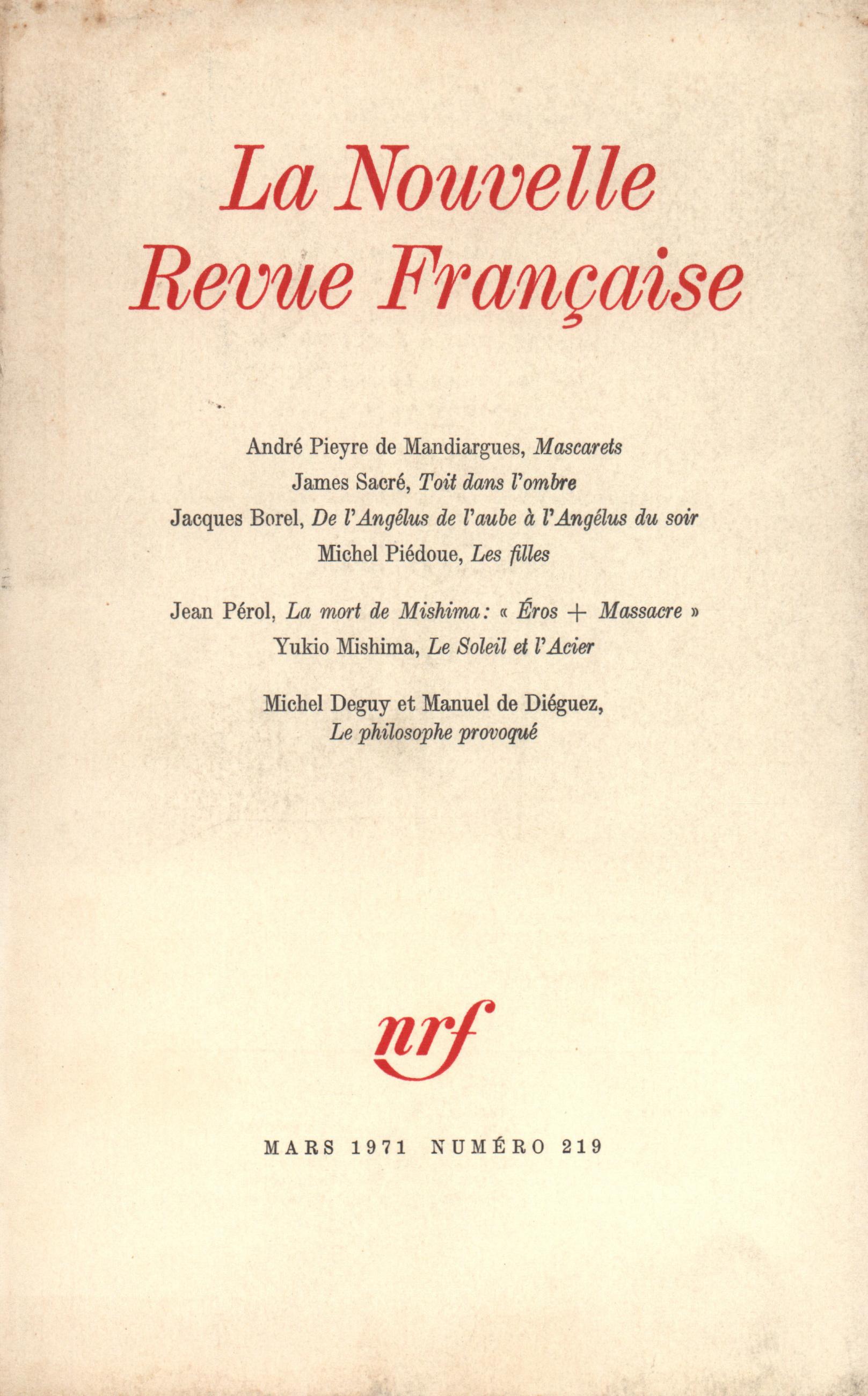 La Nouvelle Revue Française N° 219