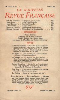 La Nouvelle Revue Française N' 212 (Mai 1931)