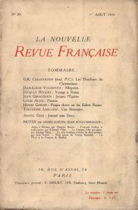 La Nouvelle Revue Française N' 20 (Aoűt 1910)
