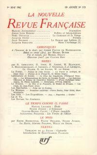 La Nouvelle Revue Française N' 113 (Mai 1962)