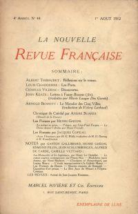 La Nouvelle Revue Française N' 44 (Aoűt 1912)