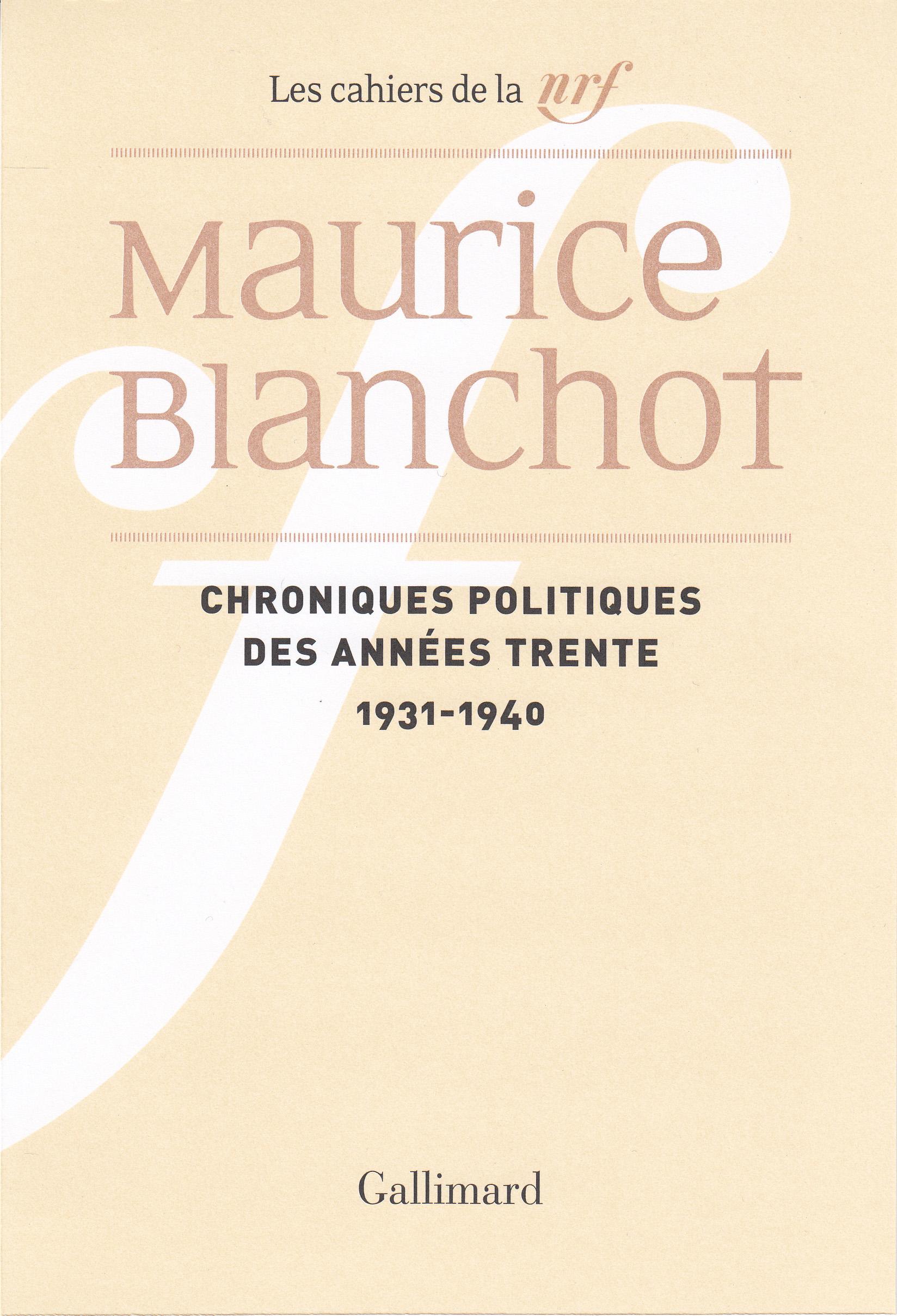 Chroniques politiques des années trente (1931-1940) | Blanchot, Maurice