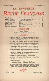La Nouvelle Revue Française N' 184 (Janvier 1929)