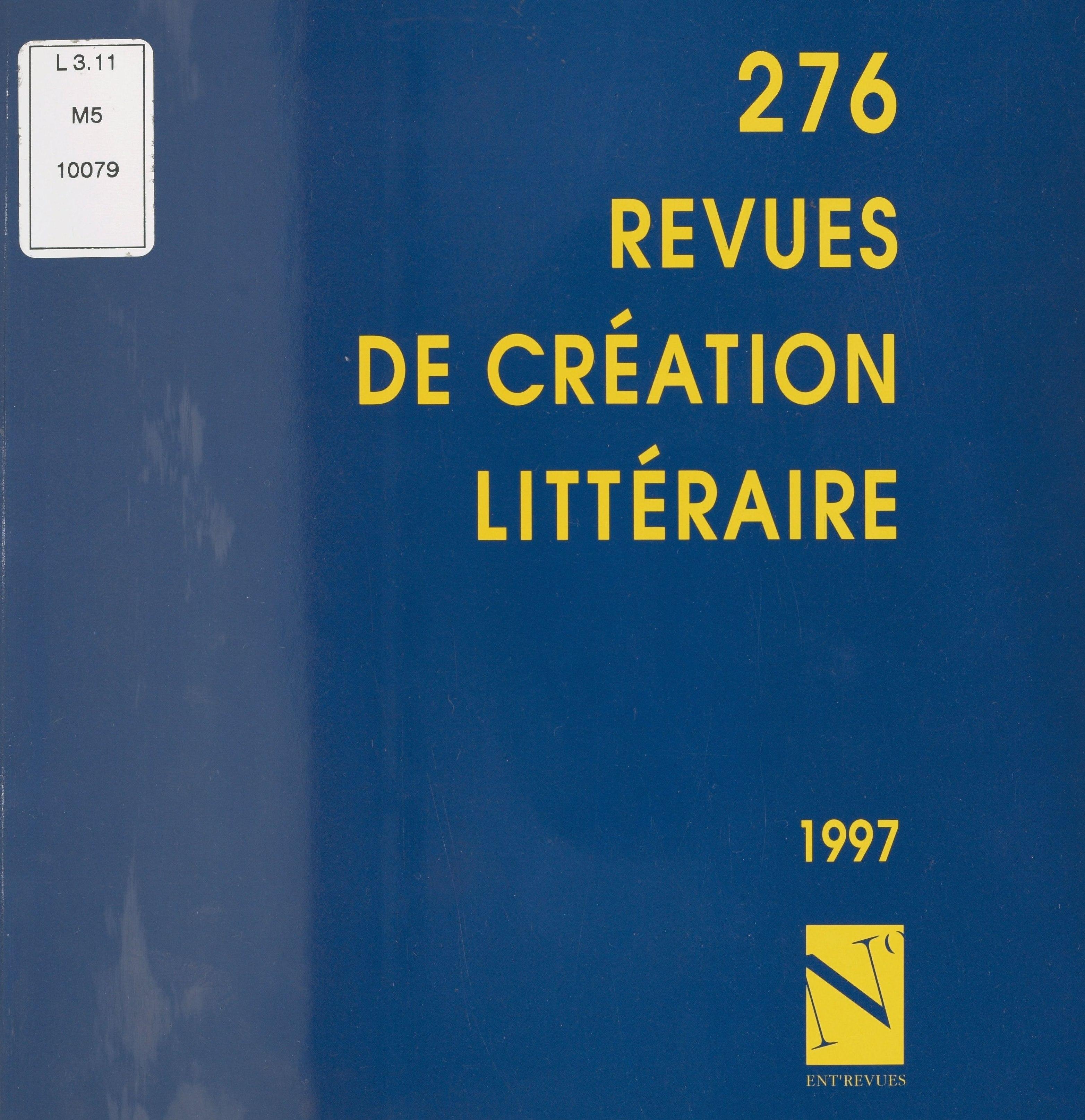 276 revues de création littéraire