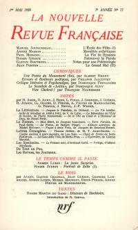 La Nouvelle Revue Française N' 77 (Mai 1959)