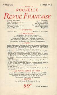 La Nouvelle Nouvelle Revue Française N' 39 (Mars 1956)
