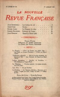 La Nouvelle Revue Française N' 190 (Juillet 1929)