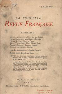 La Nouvelle Revue Française N' 19 (Juillet 1910)