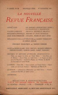 La Nouvelle Revue Française N' 98 (Novembre 1921)