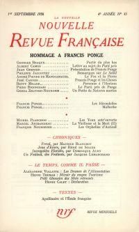Hommage ŕ Francis Ponge N' 45 (Septembre 1956)