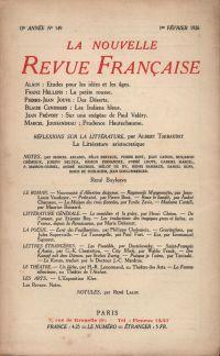 La Nouvelle Revue Française N' 149 (Février 1926)