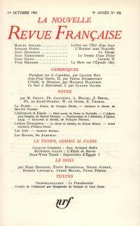 La Nouvelle Revue Française N' 106 (Octobre 1961)