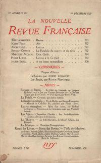 La Nouvelle Revue Française N' 195 (Décembre 1929)