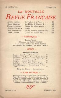 La Nouvelle Revue Française N° 253 (Octobre 1934)